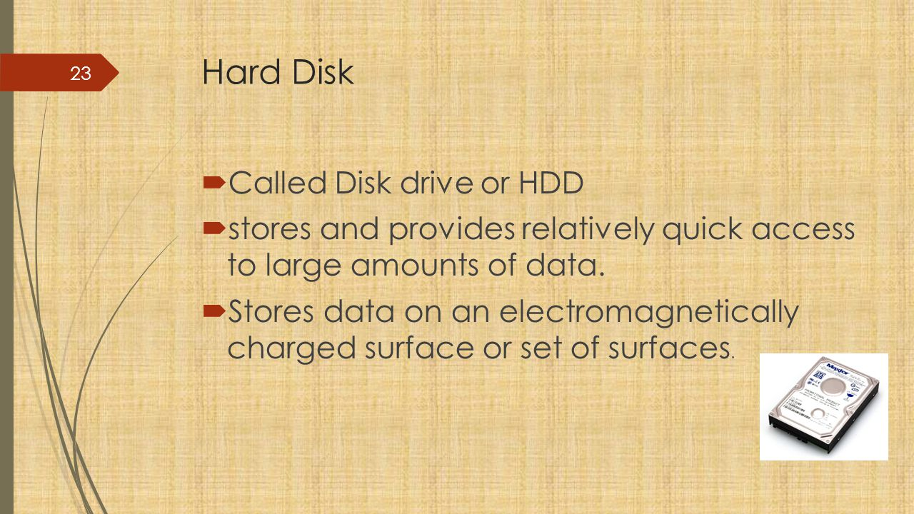 Hard Disk Called Disk drive or HDD