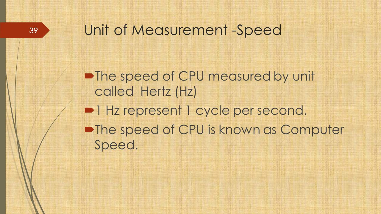 Unit of Measurement -Speed