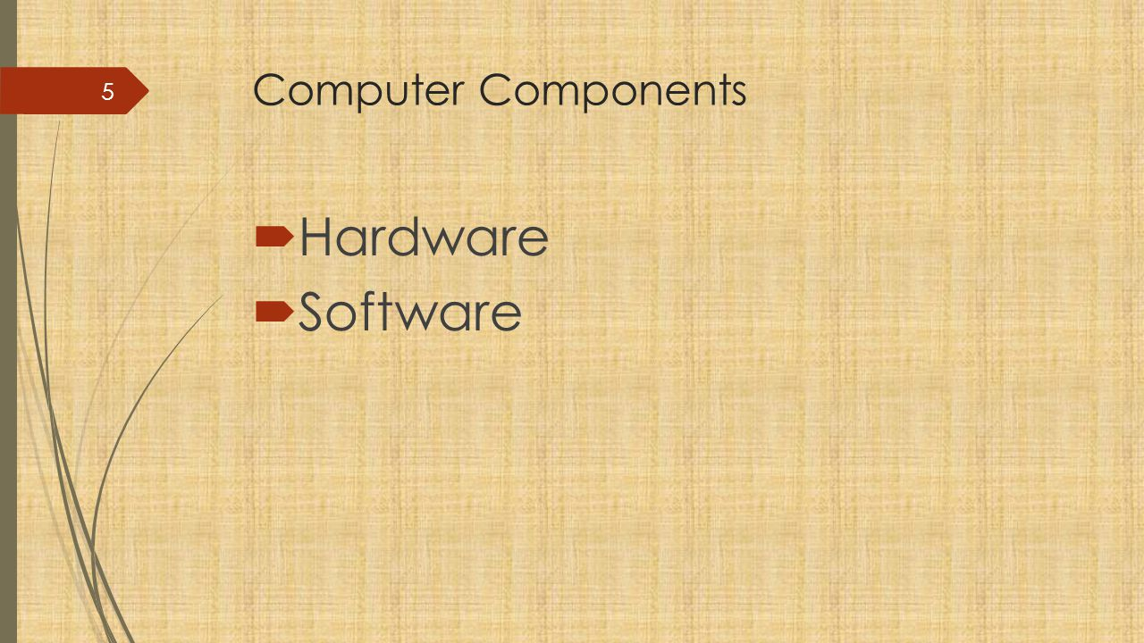 Computer Components Hardware Software