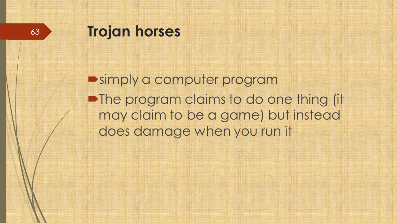 Trojan horses simply a computer program