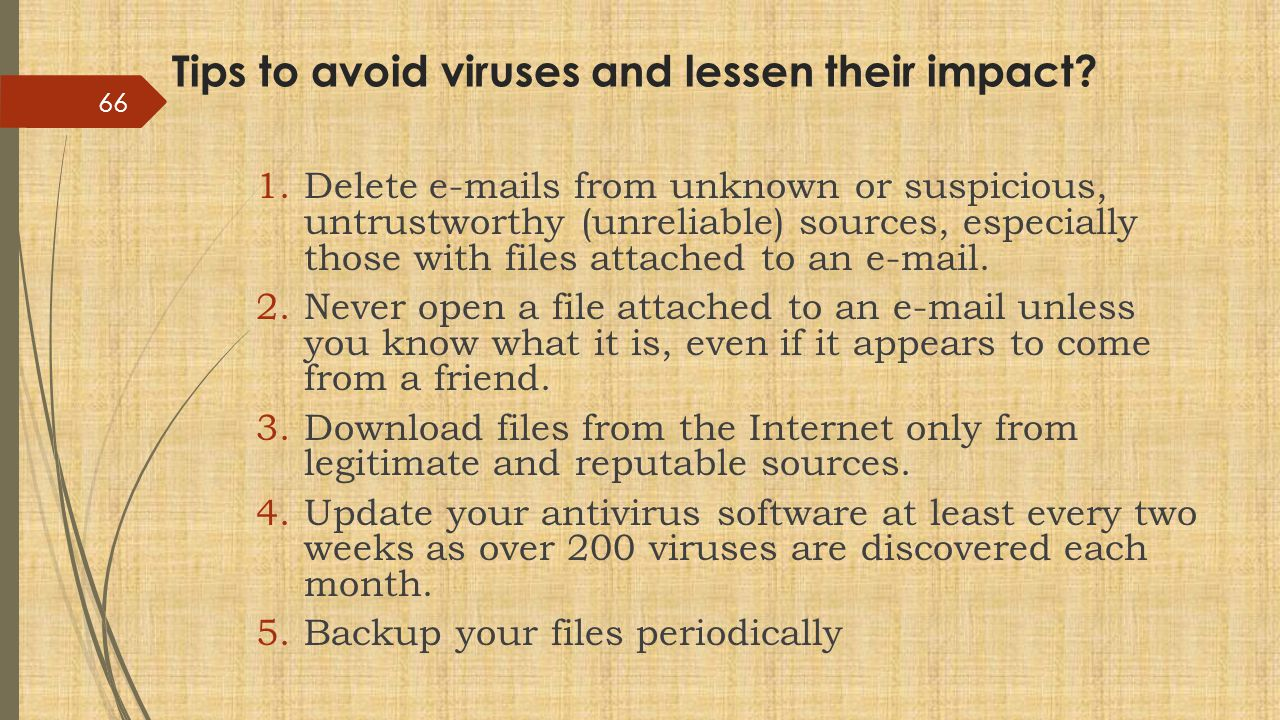 Tips to avoid viruses and lessen their impact