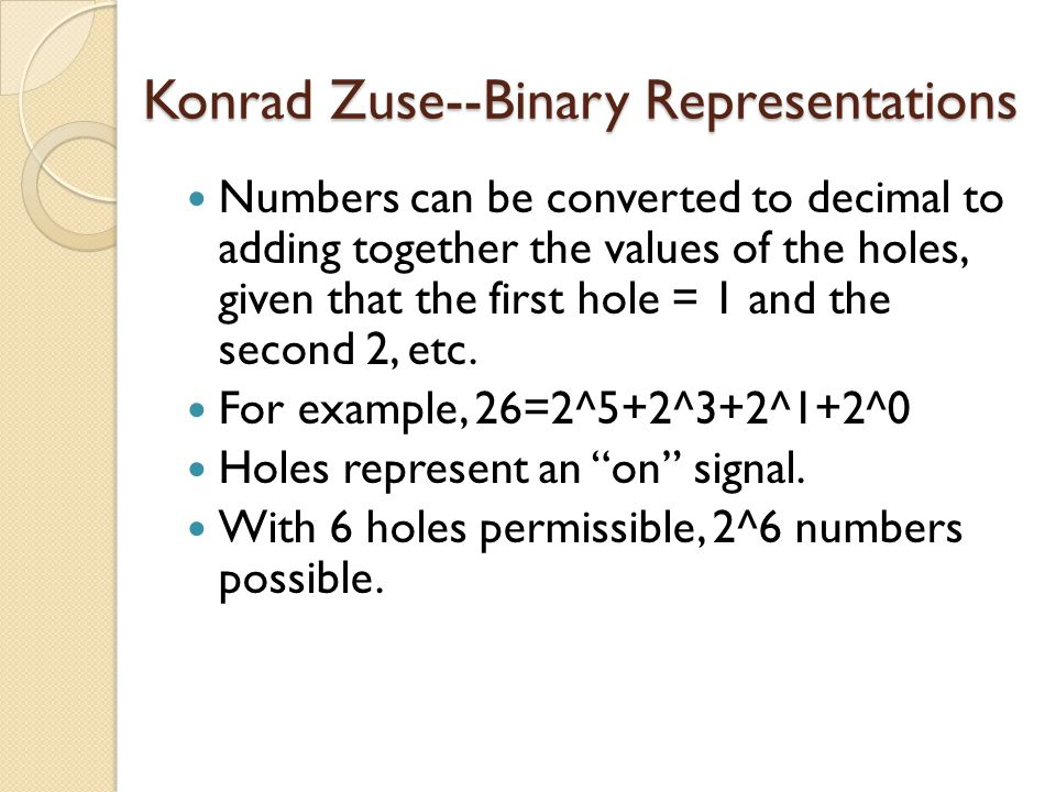 Konrad Zuse--Binary Representations