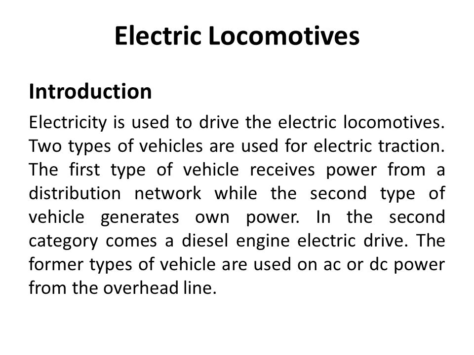 Electric Locomotives Introduction