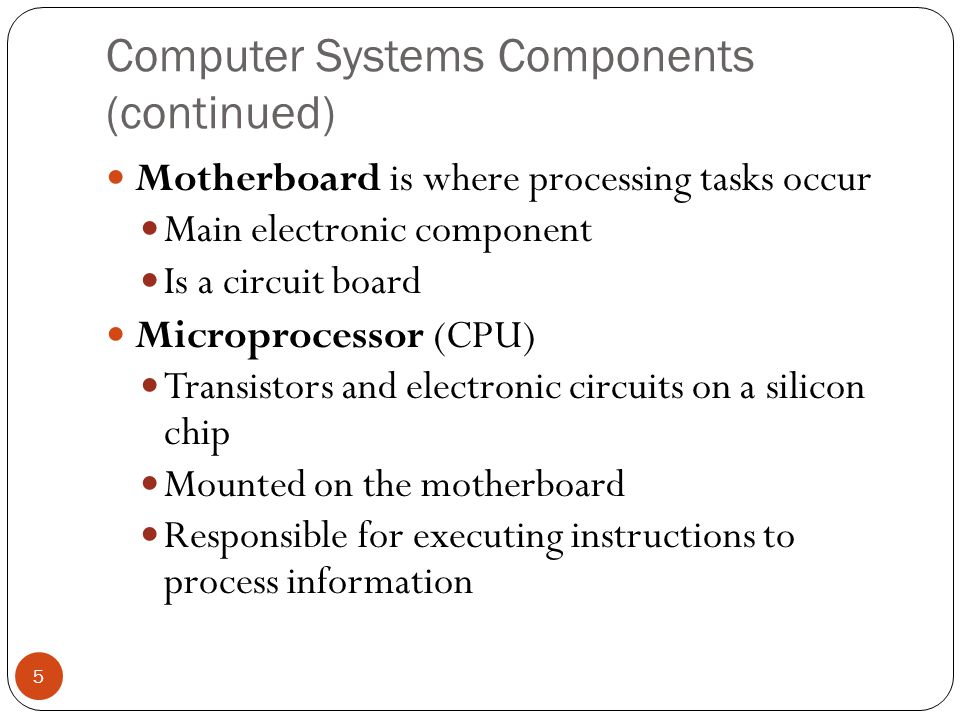 Computer Systems Components (continued)