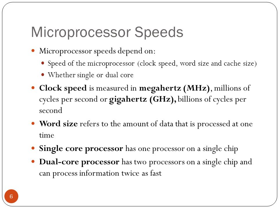 Microprocessor Speeds