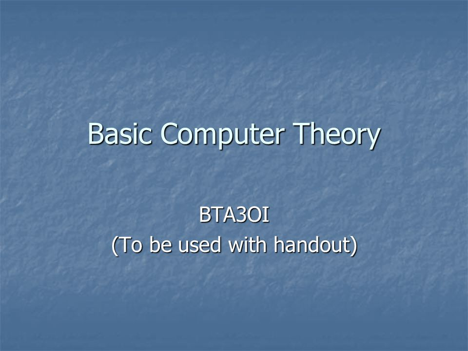 BTA3OI (To be used with handout)
