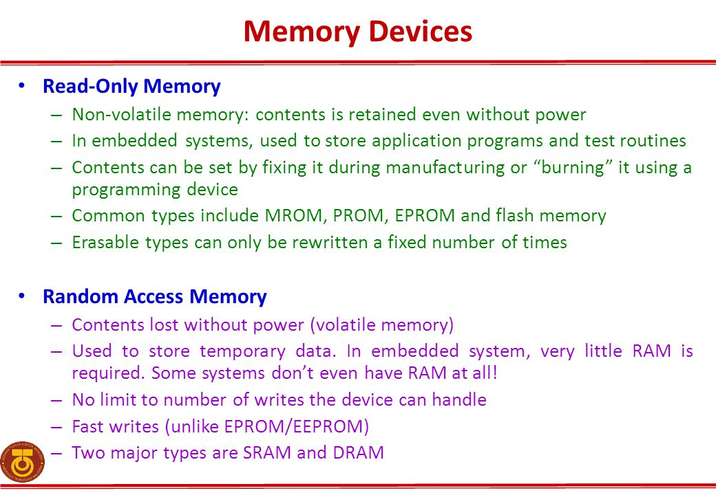 Memory Devices Read-Only Memory Random Access Memory
