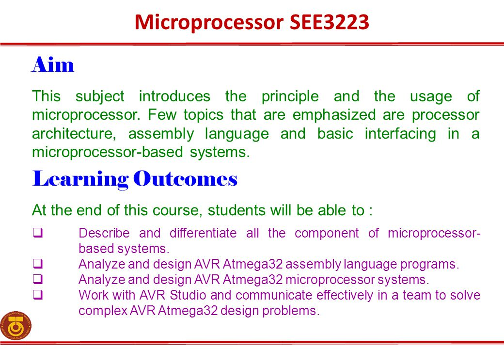 Microprocessor SEE3223 Aim Learning Outcomes