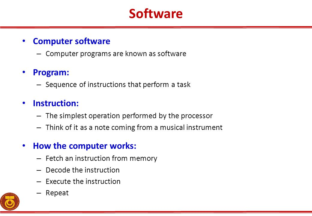 Software Computer software Program: Instruction: