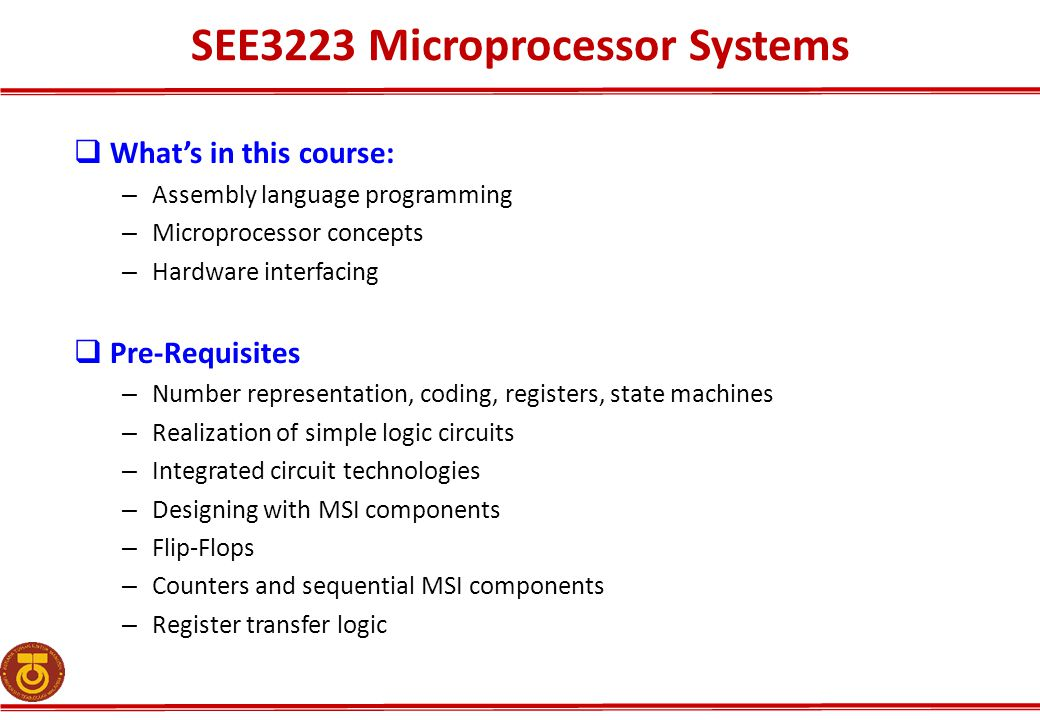 SEE3223 Microprocessor Systems