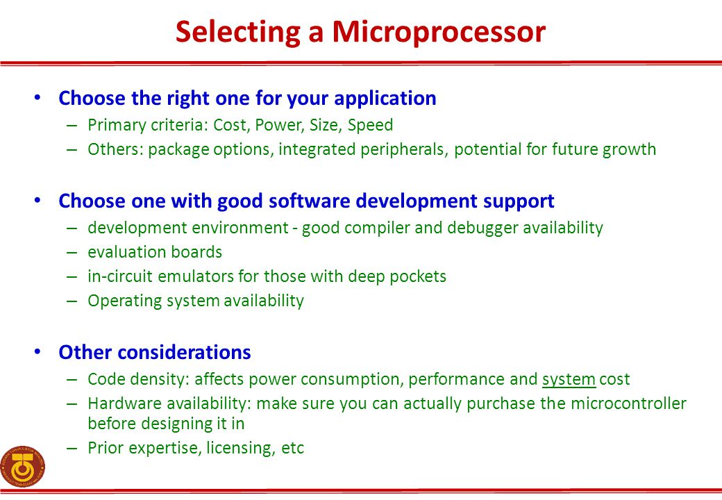 Selecting a Microprocessor