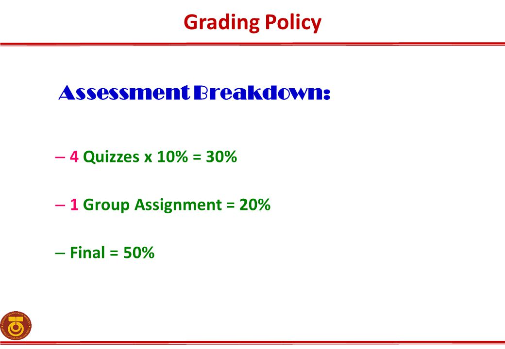 Grading Policy Assessment Breakdown: 4 Quizzes x 10% = 30%