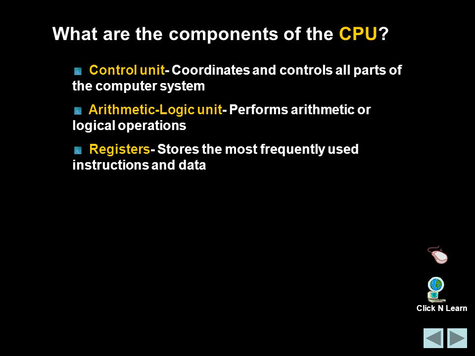 What are the components of the CPU