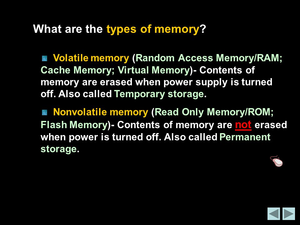 What are the types of memory