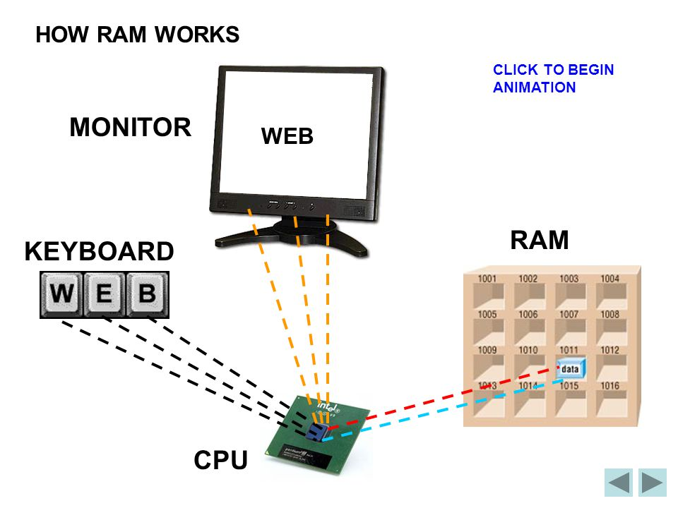 HOW RAM WORKS CLICK TO BEGIN ANIMATION MONITOR WEB RAM KEYBOARD CPU
