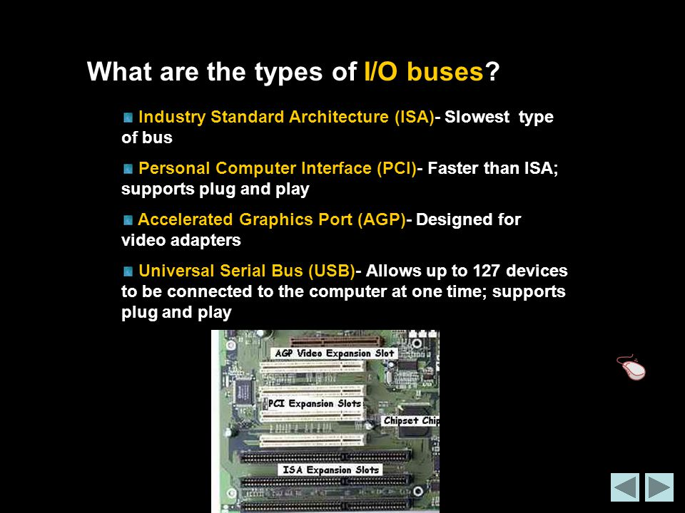 What are the types of I/O buses