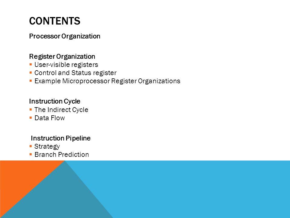 Contents Processor Organization Register Organization