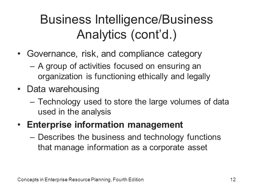 Business Intelligence/Business Analytics (cont'd.)