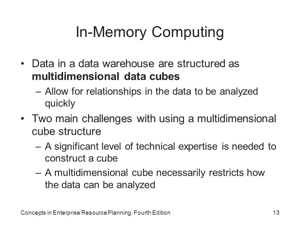 In-Memory Computing Data in a data warehouse are structured as multidimensional data cubes.
