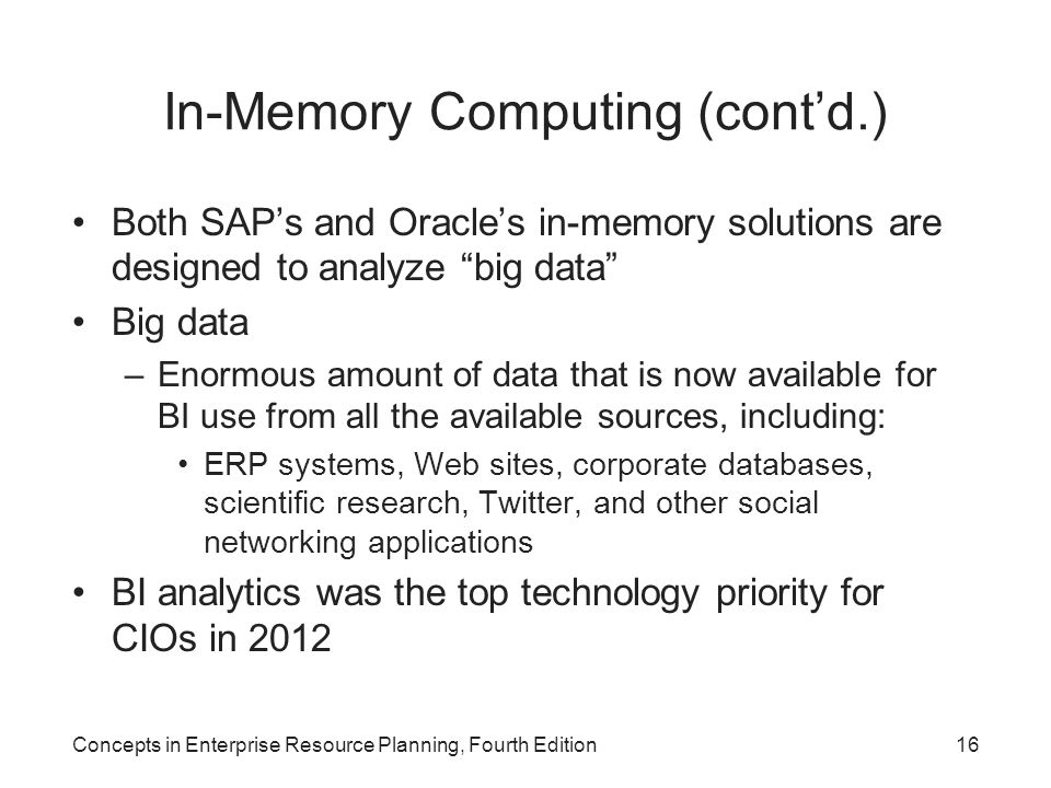 In-Memory Computing (cont'd.)