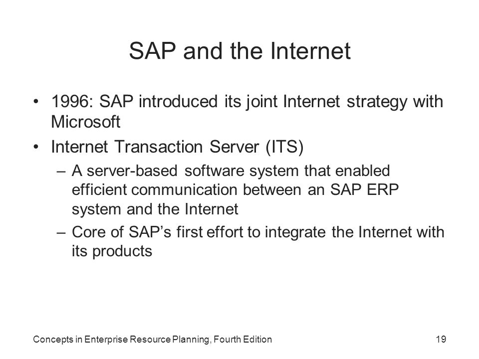 SAP and the Internet 1996: SAP introduced its joint Internet strategy with Microsoft. Internet Transaction Server (ITS)