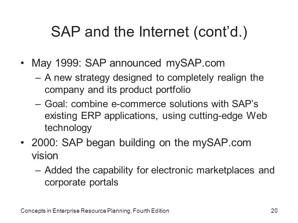 SAP and the Internet (cont'd.)