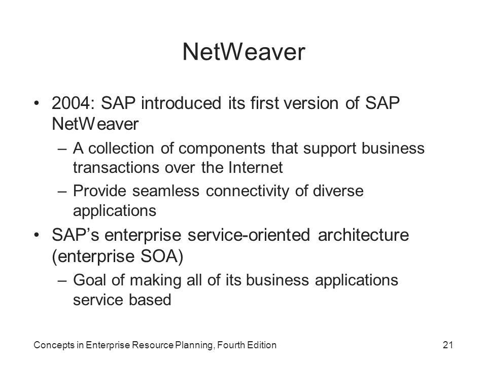 NetWeaver 2004: SAP introduced its first version of SAP NetWeaver