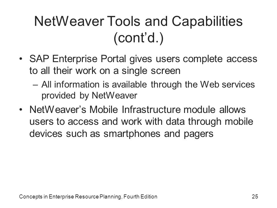 NetWeaver Tools and Capabilities (cont'd.)