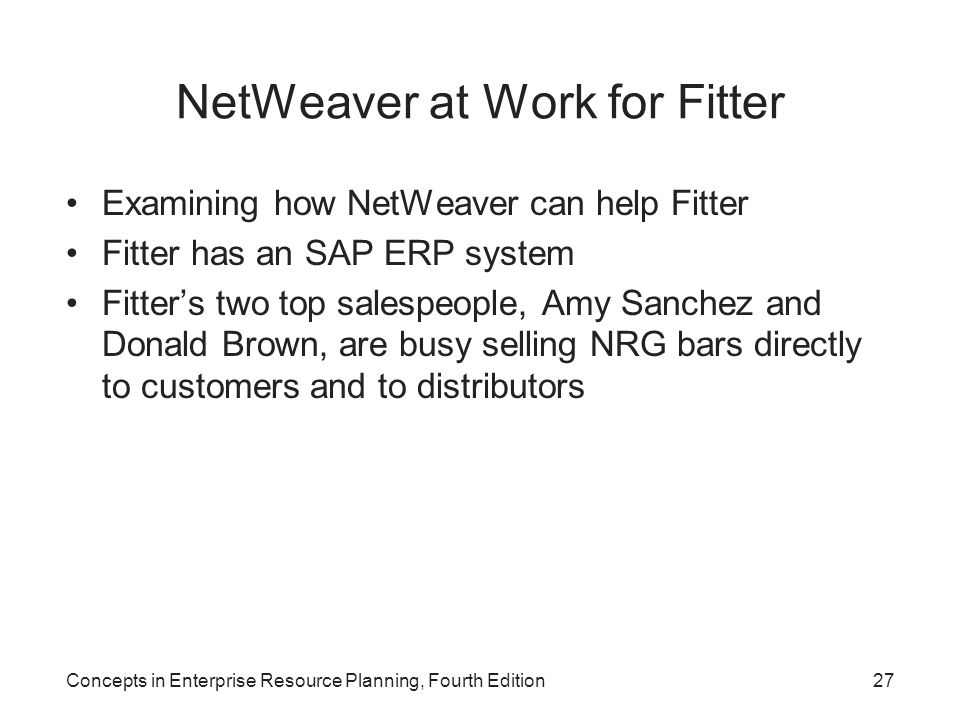 NetWeaver at Work for Fitter