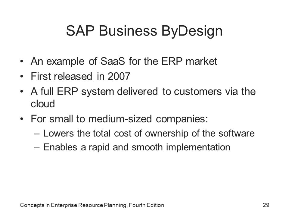 SAP Business ByDesign An example of SaaS for the ERP market
