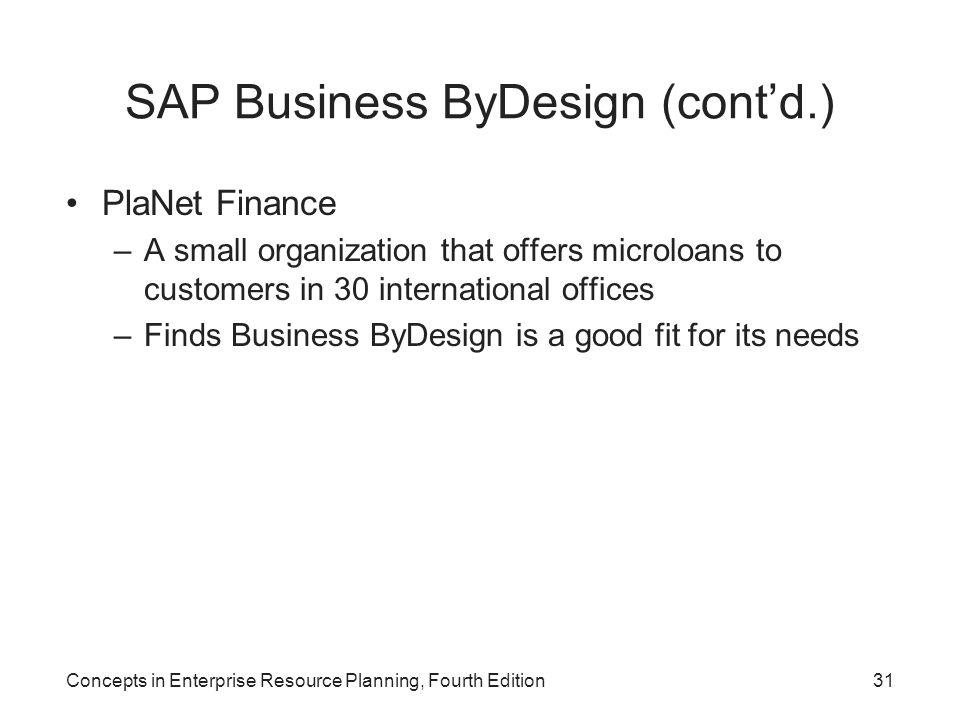 SAP Business ByDesign (cont'd.)