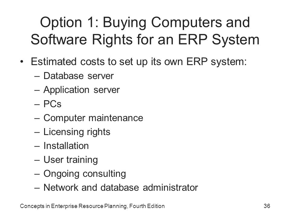 Option 1: Buying Computers and Software Rights for an ERP System