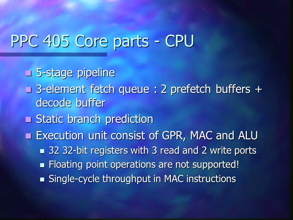 PPC 405 Core parts - CPU 5-stage pipeline