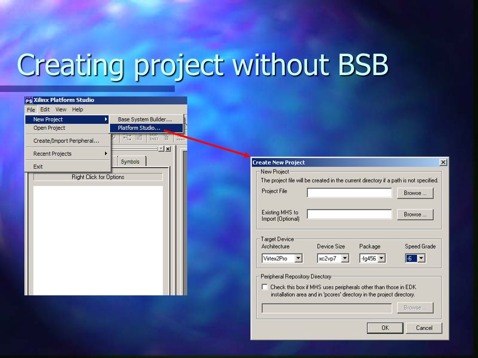Creating project without BSB
