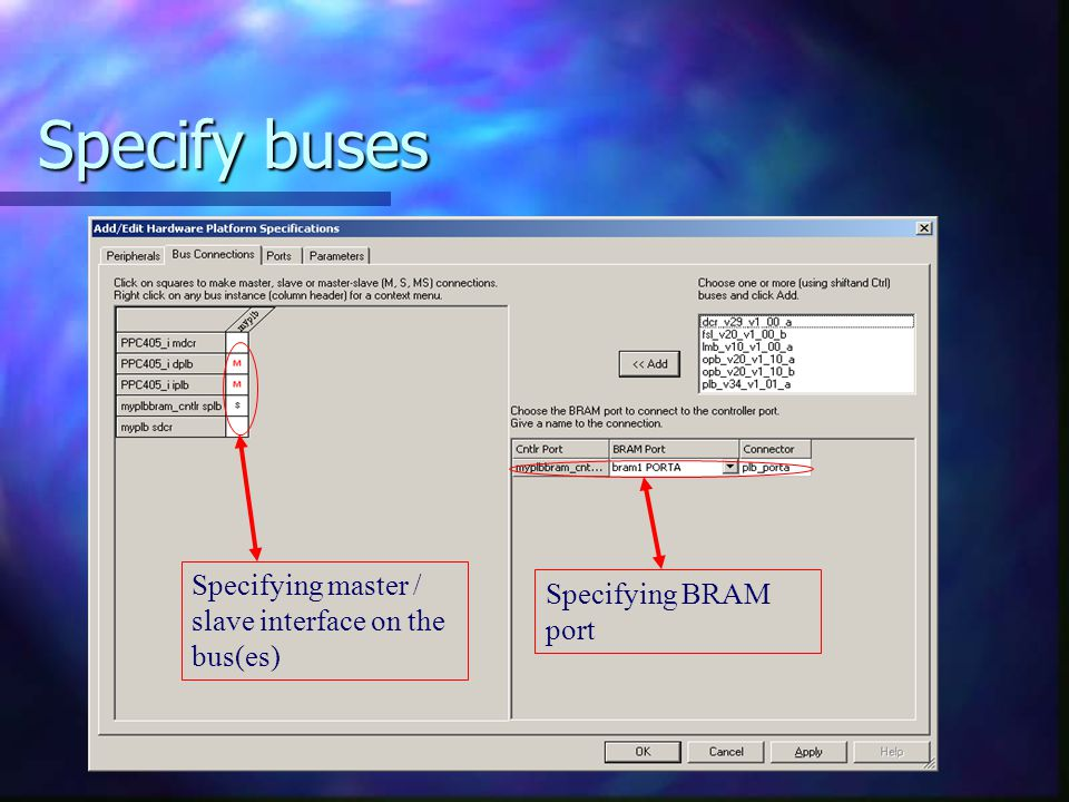 Specify buses Specifying master / slave interface on the bus(es)