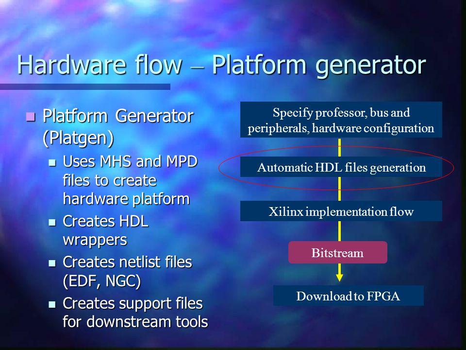 Hardware flow – Platform generator