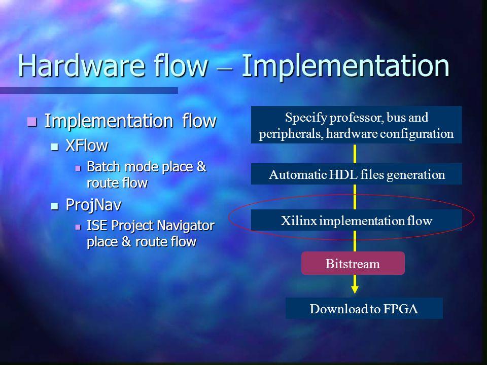 Hardware flow – Implementation