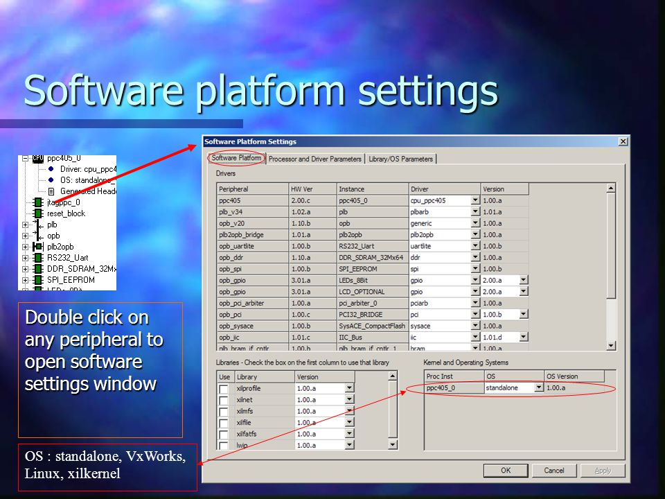 Software platform settings