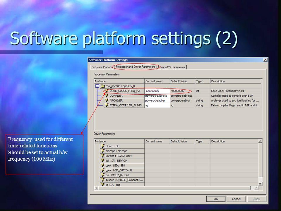Software platform settings (2)