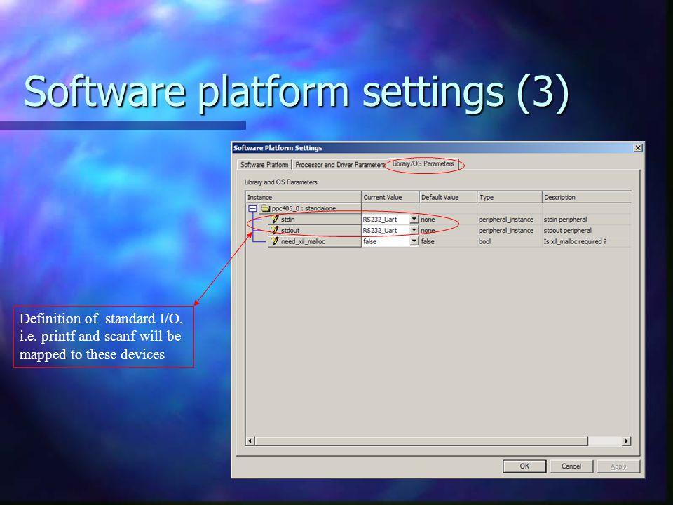 Software platform settings (3)