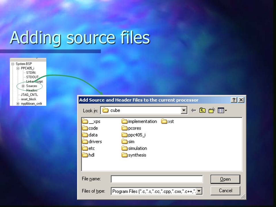 Adding source files