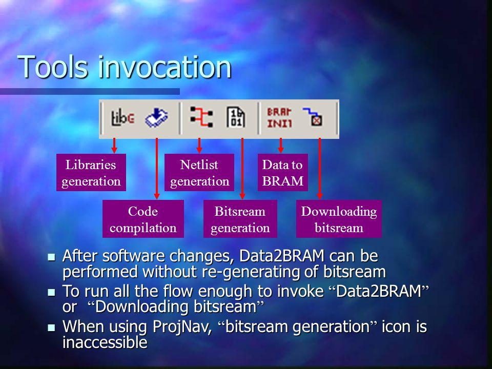 Tools invocation Libraries generation. Netlist generation. Data to BRAM. Code compilation. Bitsream generation.
