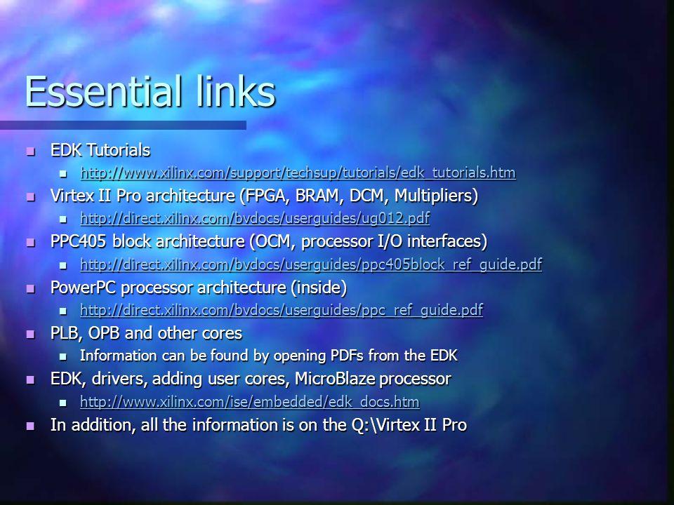 Essential links EDK Tutorials