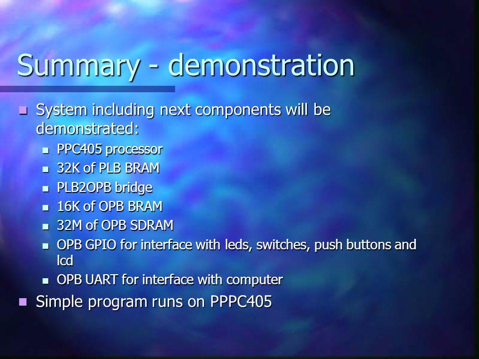 Summary - demonstration