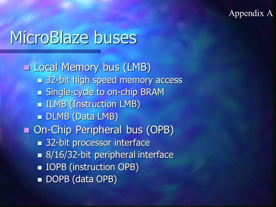 MicroBlaze buses Local Memory bus (LMB) On-Chip Peripheral bus (OPB)