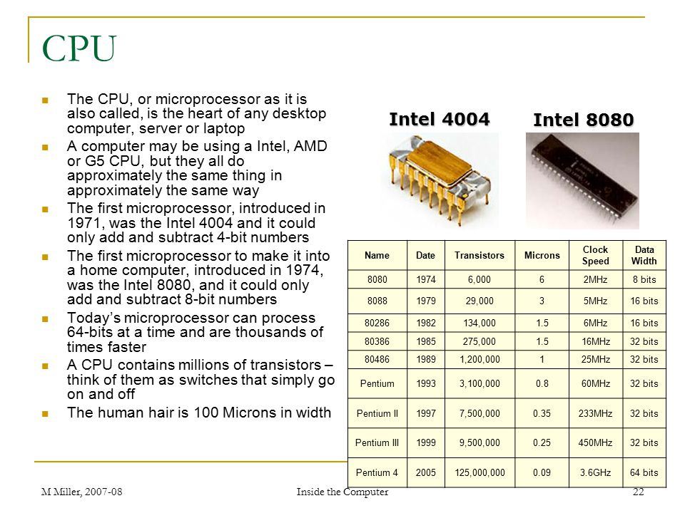 CPU The CPU, or microprocessor as it is also called, is the heart of any desktop computer, server or laptop.