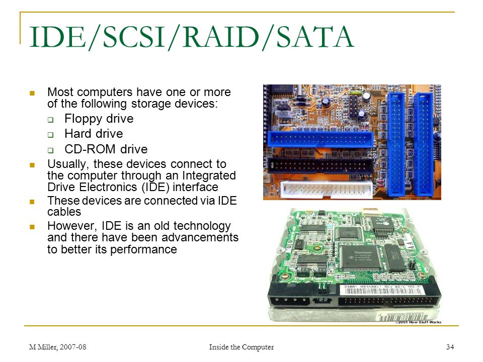 IDE/SCSI/RAID/SATA Floppy drive Hard drive CD-ROM drive