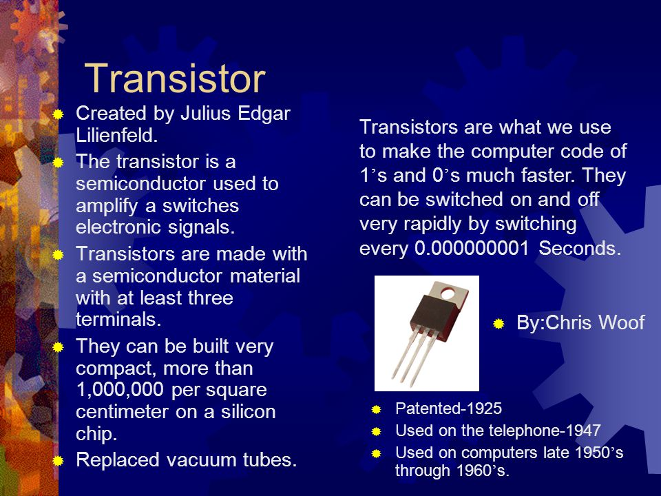 Transistor Created by Julius Edgar Lilienfeld.