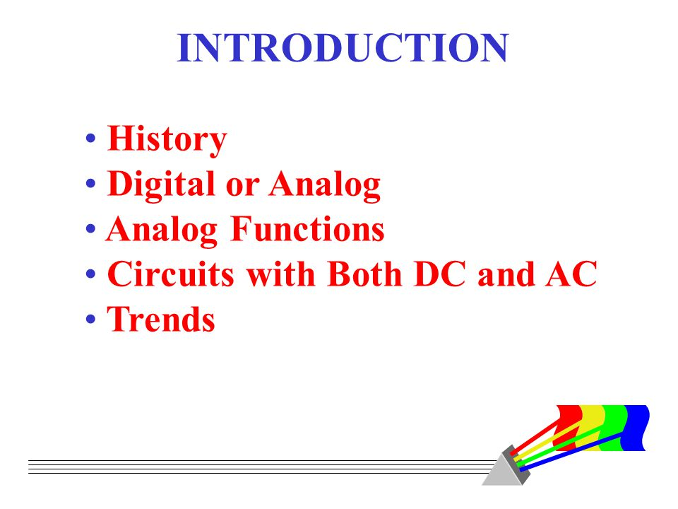 INTRODUCTION History Digital or Analog Analog Functions