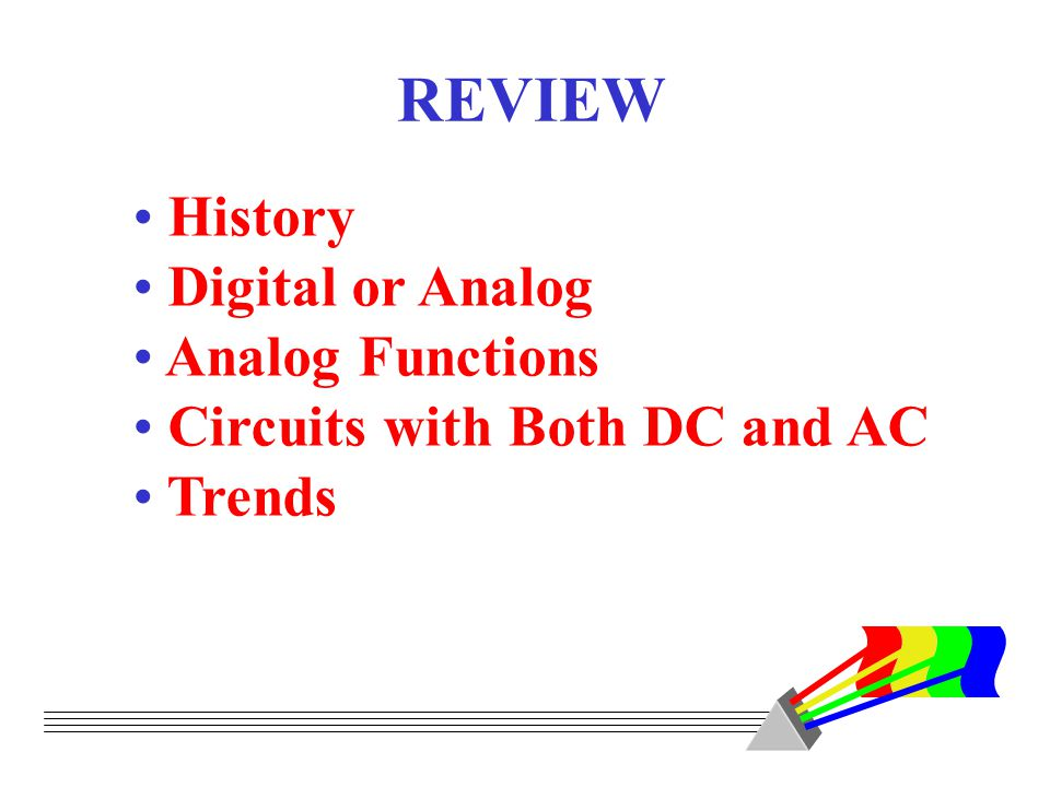 REVIEW History Digital or Analog Analog Functions